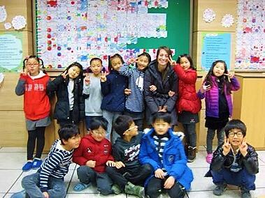 Megan Tighe teaching south korea students