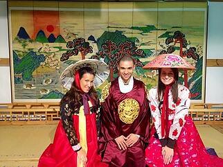 Megan Tighe ITA Alumni teaching abroad traditional clothes