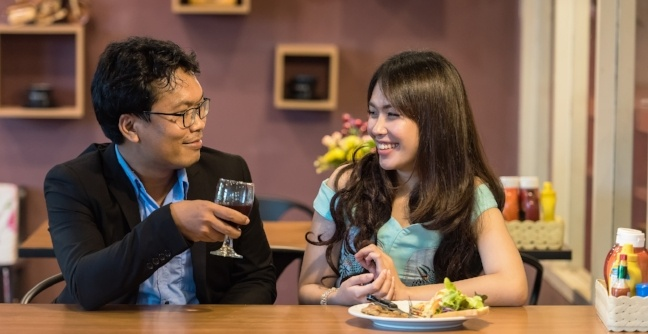 Japanese couples celebrating valentines day