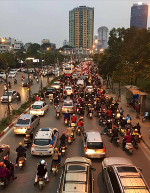 The traffic in Hanoi, Vietnam is definitely a Con of living and teaching English there