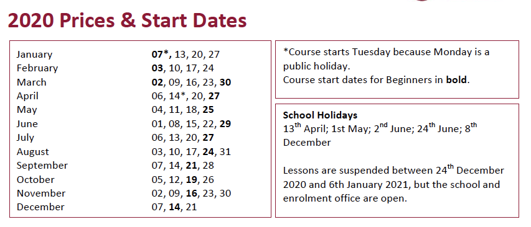 InFlorence Academy Start Dates