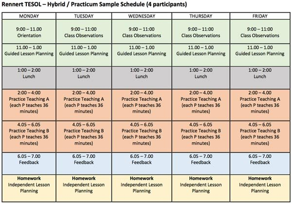 Sample Schedule for TEFL live practice teaching in New York