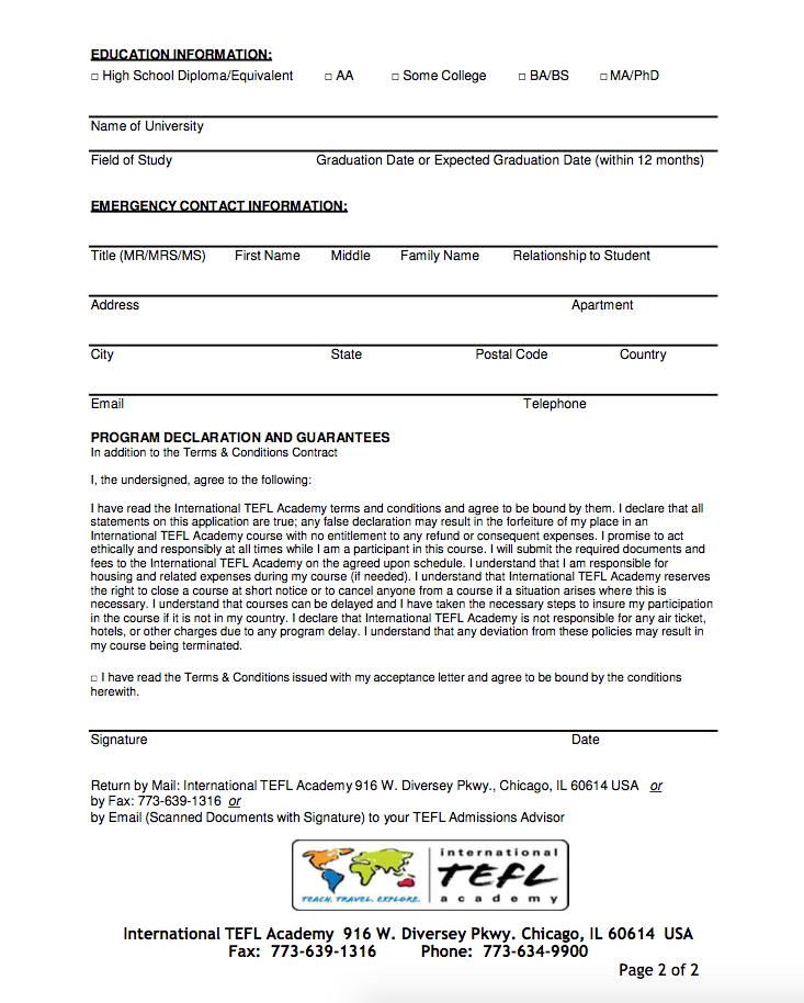 International TEFL Academy Course Registration Form