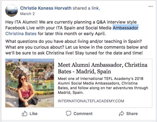 ITA Ambassadors provide guidance on Facebook & Social Media
