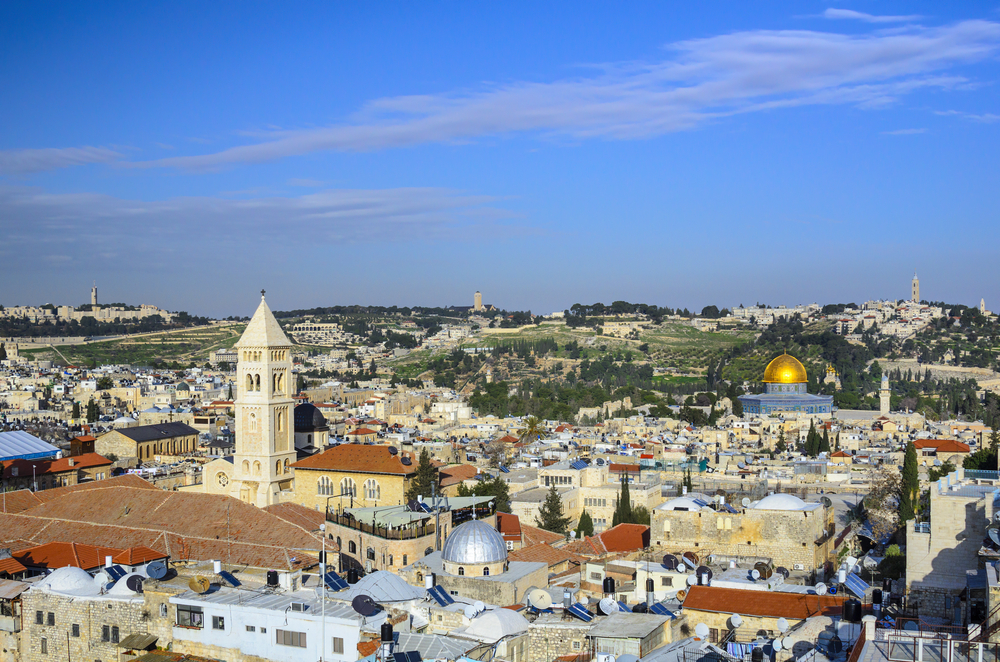 Jerusalem, Israel Old City cityscape at the Temple Mount and Dome of the Rock.