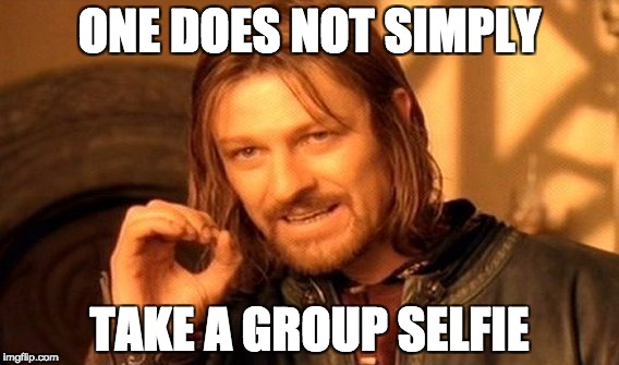 take a group selfie while teaching English abroad