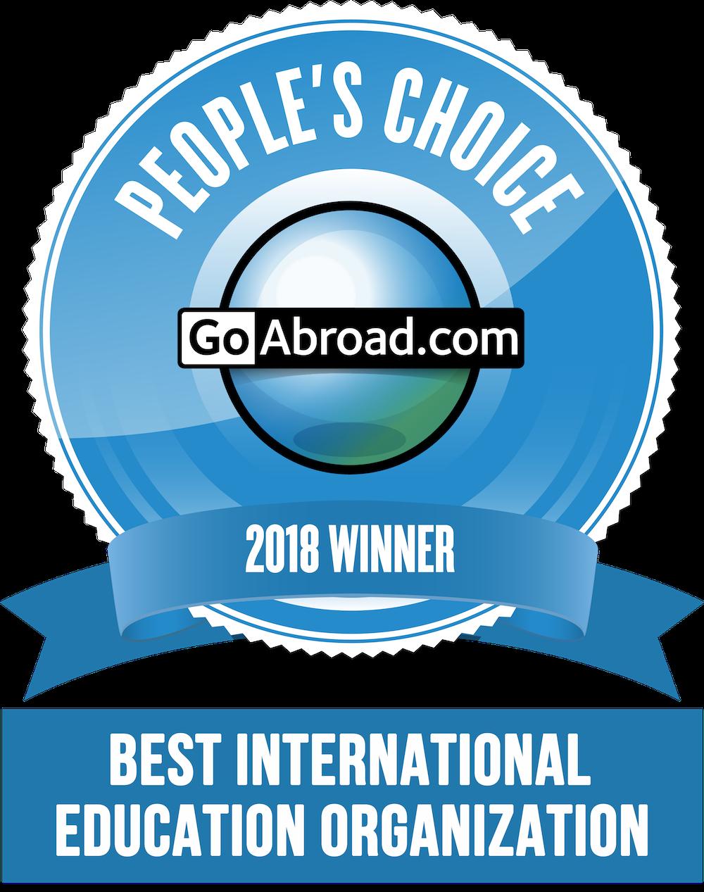 GoAbroad People's Choice Award 2018 Winner for Best International Education Organization