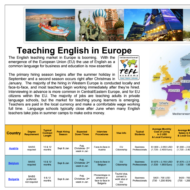 teach english abroad country comparison chart