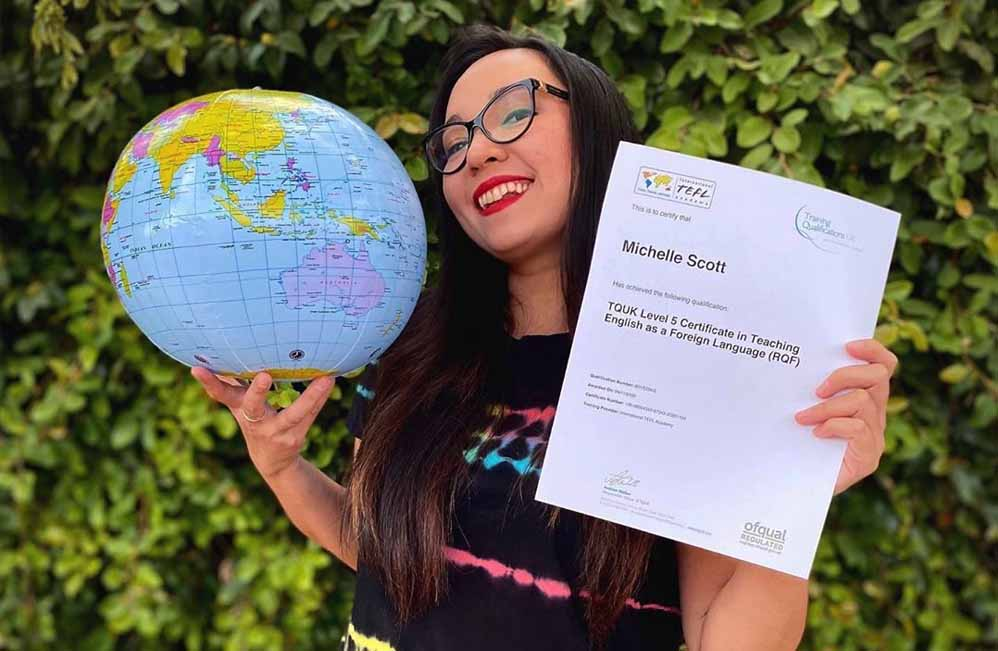 ITA grad with her level 5 accredited TEFL Certification