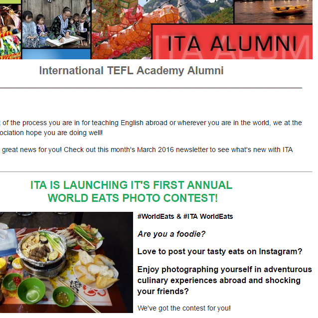 Keep up-to-date with ITA Alumni Newsletters